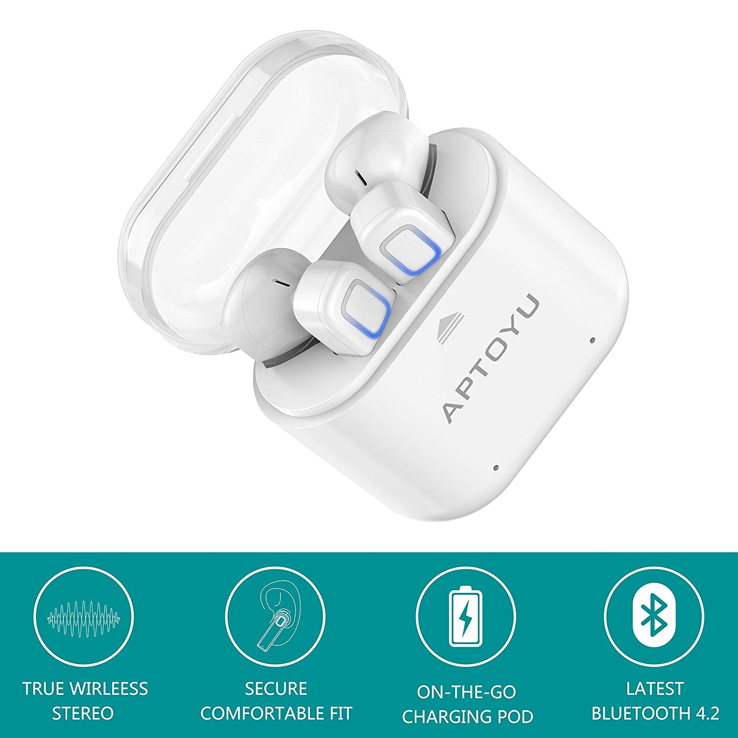 Aptoyu True Bluetooth 4.2 Wireless Headphones